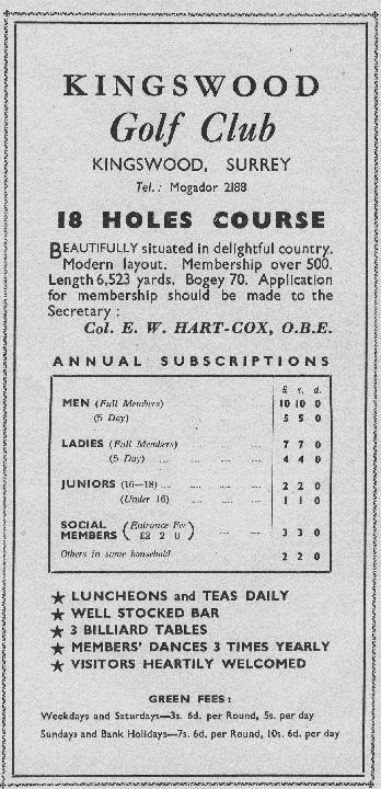 History - Golf Club Tarriffs 1950