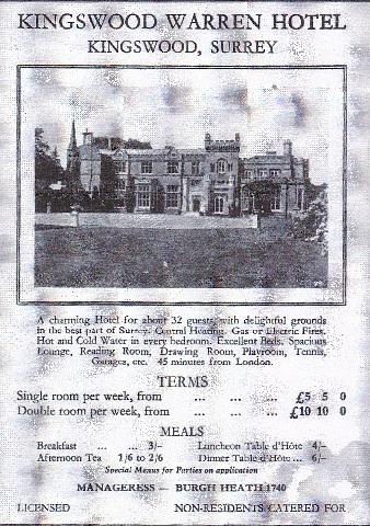 History - Kingswood Warren Hotel